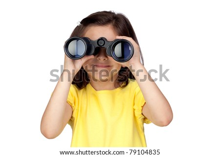 Brunette little girl looking through binoculars isolated on a over white background - stock photo