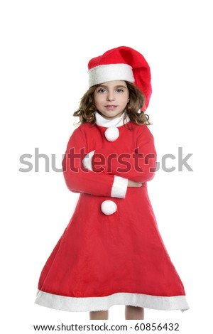 Brunette little girl Santa costume posing white background