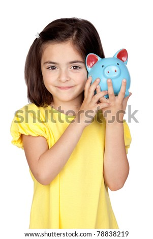 Brunette little girl with a blue moneybox isolated on a over white background - stock photo