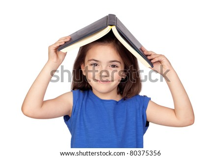 Brunette little girl with a book on her head isolated on a over white background - stock photo