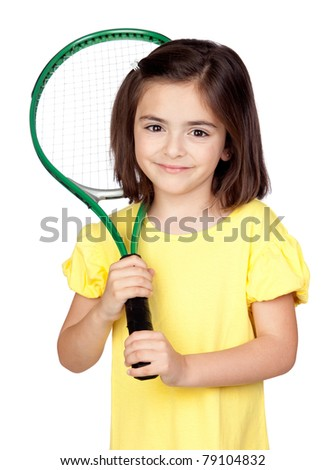 Brunette little girl with a tennis racket isolated on a over white background - stock photo