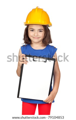 Brunette little girl with a yellow helmet isolated on a over white background - stock photo