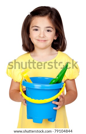 Brunette little girl with beach toys isolated on a over white background - stock photo