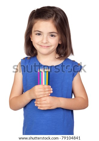 Brunette little girl with colored pencil isolated on a over white background - stock photo