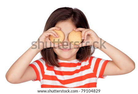 Brunette little girl with two biscuits isolated on a over white background - stock photo