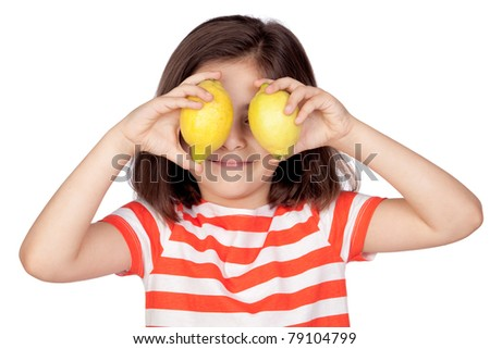 Brunette little girl with two lemons isolated on a over white background - stock photo