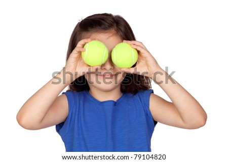 Brunette little girl with two tennis balls isolated on a over white background - stock photo