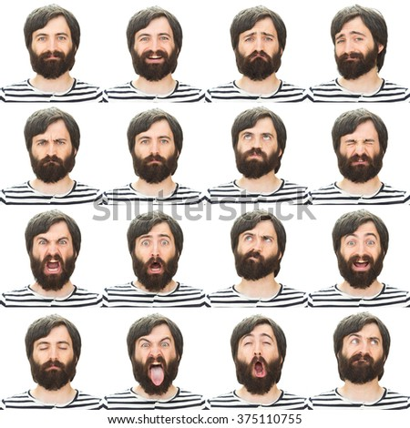 brunette long hair and beard young casual caucasian man collection set of face expression like happy, sad, angry, surprise, yawn isolated on white - stock photo