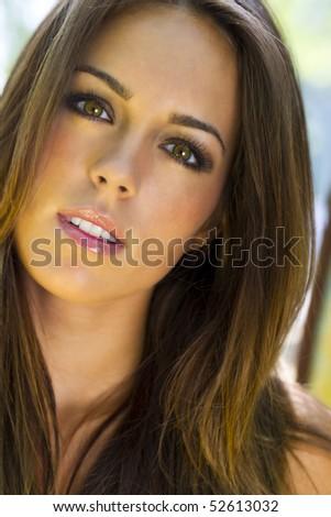 Brunette Model Headshot - stock photo