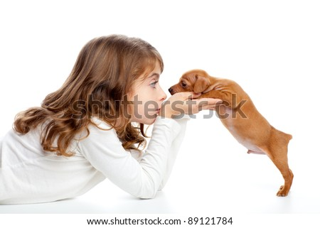 Brunette profile girl with dog puppy mascot mini pinscher on white background - stock photo