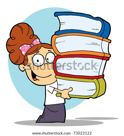 Brunette School Girl Carrying A Stack Of Books
