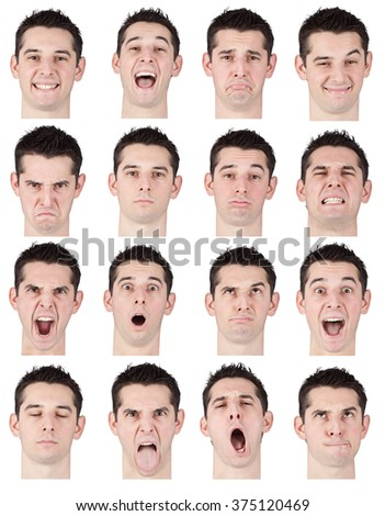 brunette short hair young caucasian man collection set of face expression like happy, sad, angry, surprise, yawn isolated on white