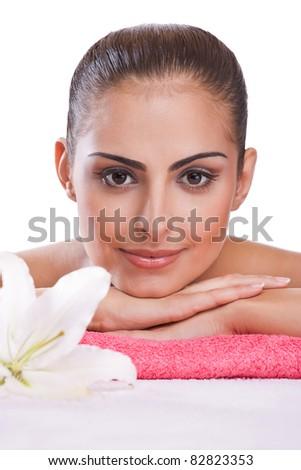 brunette spa woman - stock photo