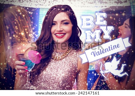 Brunette with cocktail against be my valentine - stock photo