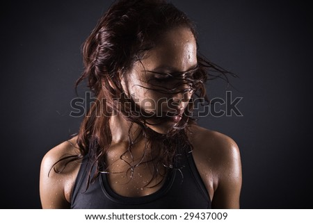 brunette woman after workout - stock photo