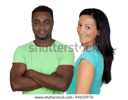 Brunette woman and attractive african men isolated on a over white background