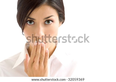 brunette woman expression on background - stock photo