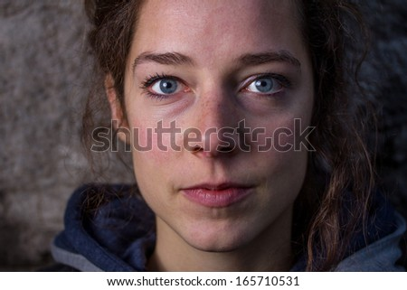 brunette woman eyes close up