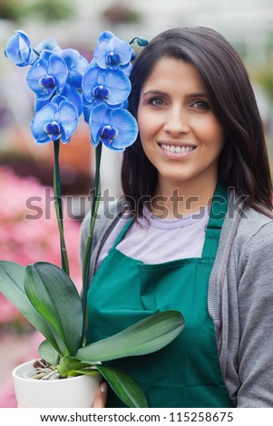 Brunette woman holding a blue flower while smiling working in garden center - stock photo