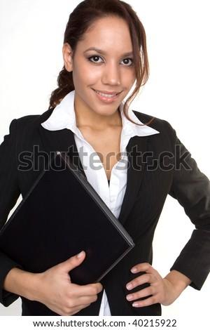 Brunette woman hug laptop computer, she love her work - stock photo