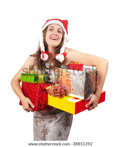 brunette woman in a santa hat with Christmas gifts
