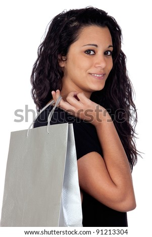Brunette woman in shopping isolated on white background - stock photo