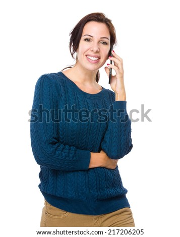Brunette woman talk to mobile phone - stock photo