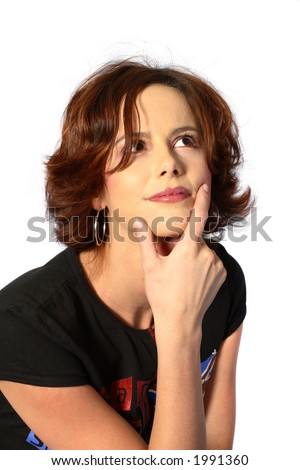 Brunette woman thinking with hand on chin - stock photo