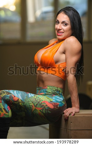 brunette woman trainingat the gym - stock photo