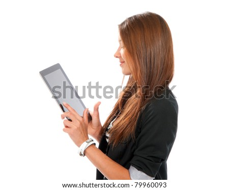 Brunette woman typing on her new electronic tablet touch pad one finger touches the digital screen isolated on a white background - stock photo
