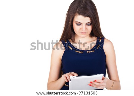 Brunette woman typing on her touch pad isolated