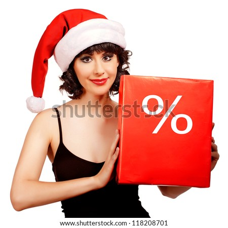 brunette woman wearing santa hat  holding  Christmas  discount box - stock photo