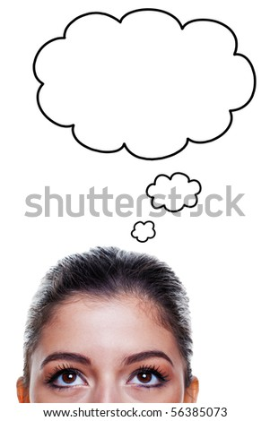 Brunette woman with big brown eyes looking upwards with thought bubbles above her head, isolated on white background. - stock photo
