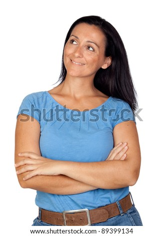 Brunette woman with long hair isolated on a over white background