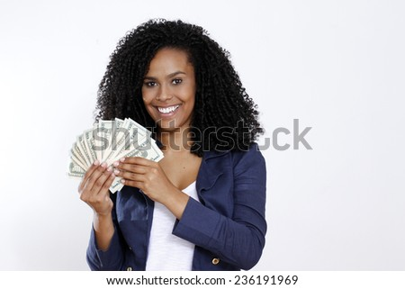 brunette woman with money