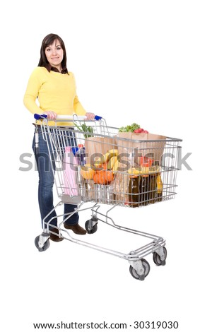 brunette woman with shopping cart. over white background