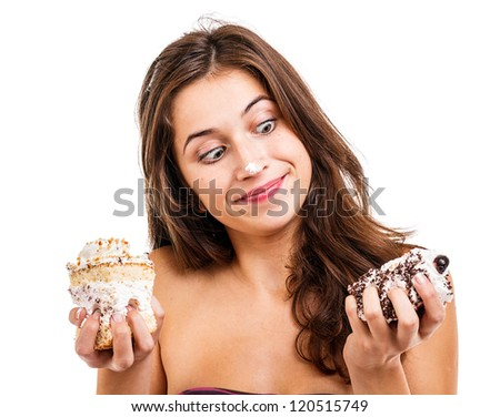 Brunette young girl with two cakes - stock photo