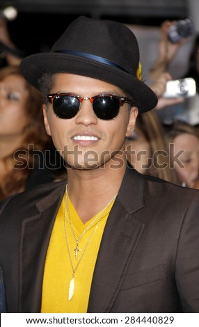 Bruno Mars at the Los Angeles premiere of 'The Twilight Saga: Breaking Dawn Part 1' held at the Nokia Theatre L.A. Live in Los Angeles on November 14, 2011.  - stock photo