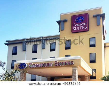 BRUNSWICK, GA-SEPTEMBER 30, 2016:  Comfort Suites hotel in Brunswick, close to the freeway.  Comfort Suites is a part of Choice Hotels.