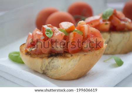 Bruscetta with tomatoes and herbs