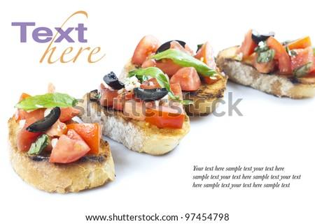 bruschetta on white - stock photo