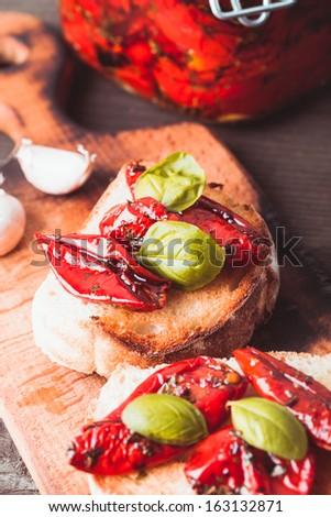 Bruschetta with sun dried tomatoes - stock photo