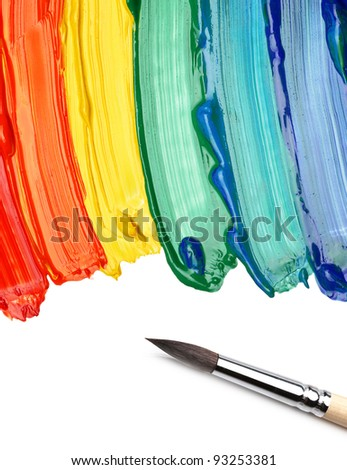brush and abstract acrylic painted background - stock photo