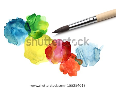 Brush and abstract circle watercolor painting - stock photo
