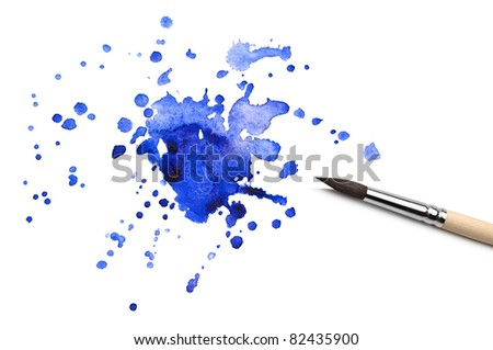 brush and abstract watercolor blot - stock photo