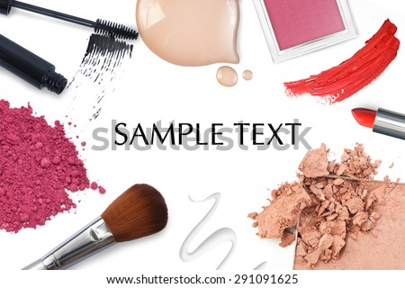 Brush and cosmetic on a white background - stock photo