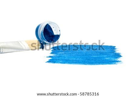 brush and dark blue paint - stock photo