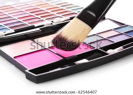 Brush and eye shadows - stock photo
