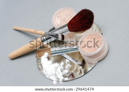 brush and mineral cosmetics - stock photo