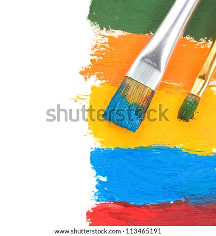 brush and oil paint isolated on white background - stock photo